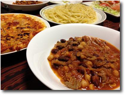 ラム肉と豆のトマト煮他