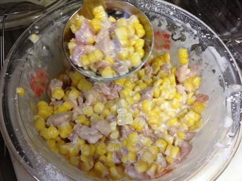 トウキビと鶏肉のかき揚げ4