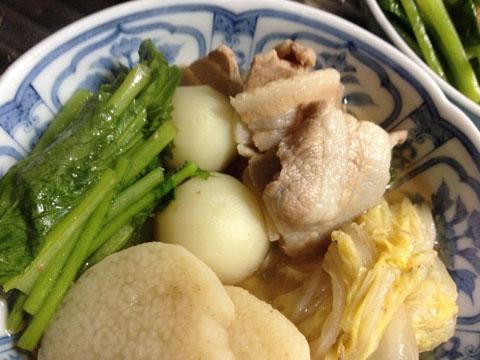 小カブと白菜と長芋と豚バラのさっと煮1