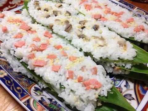 鮭と鰊でつくる笹寿司9