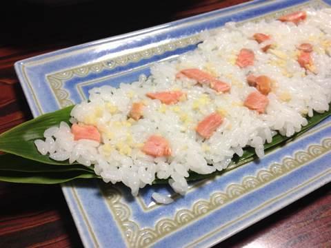 鮭と鰊でつくる笹寿司7