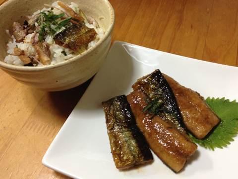 サンマの蒲焼きで混ぜご飯3