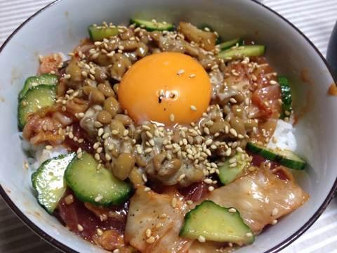 マグロ納豆キムチ丼