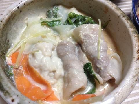 豆乳を使って湯葉と鍋4