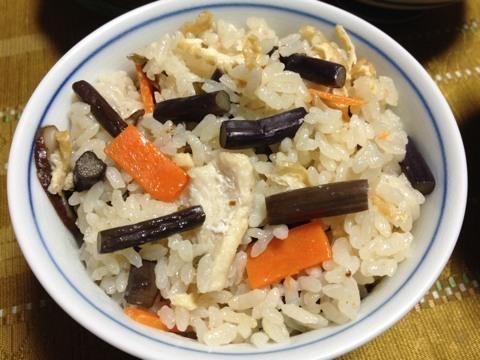 ワラビの炊き込みご飯2