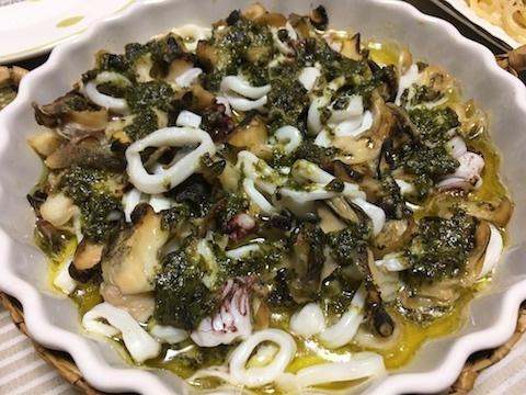 ツブとイカとタコのオーブン焼き(バジル風味)4