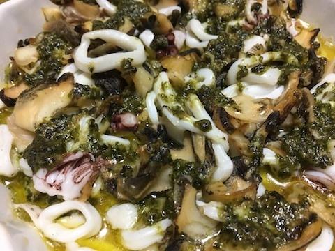 ツブとイカとタコのオーブン焼き(バジル風味)5