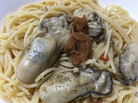 牡蠣のパスタ〜マダラの醤油漬け添え5