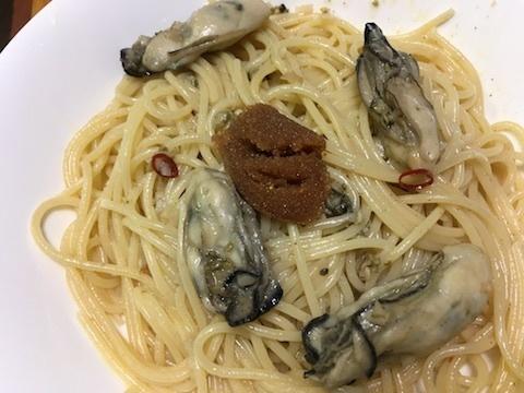 牡蠣のパスタ〜マダラの醤油漬け添え3