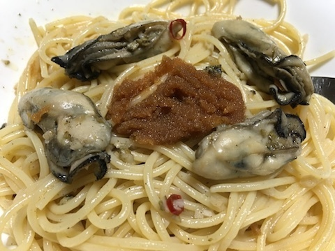 牡蠣のパスタ〜マダラの醤油漬け添え4