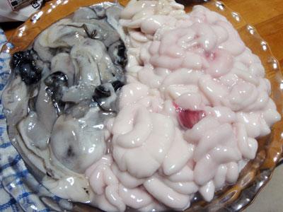 タチ(真ダラの白子)と牡蠣