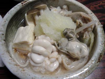 真ダラとタチ(真ダラの白子)と牡蠣の鍋2